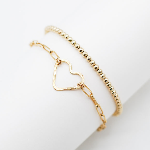 14K Goldfill Heart & Beaded Lux Bracelet Set