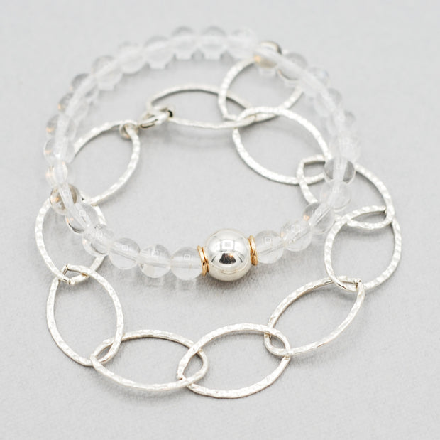 Sterling Silver Chain & Crystal Quartz Bracelet Set