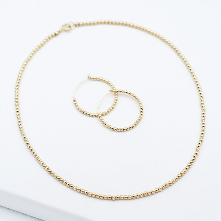 14K Goldfill Beaded Necklace & Hoop Set