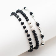 Black Onyx & Sparkle Sterling Silver Bracelet Set