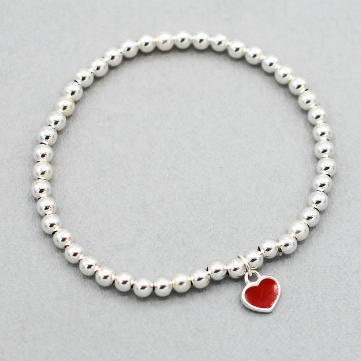 4mm Sterling Silver & Red Enamel Heart Bracelet