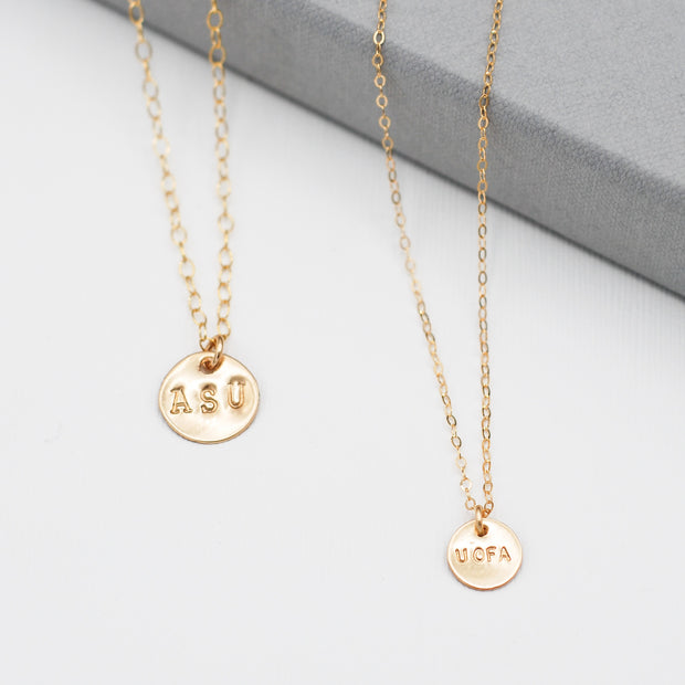 Personalized School 'U of A' 14k Goldfill Necklace