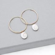 Hoops & White Shell Drops