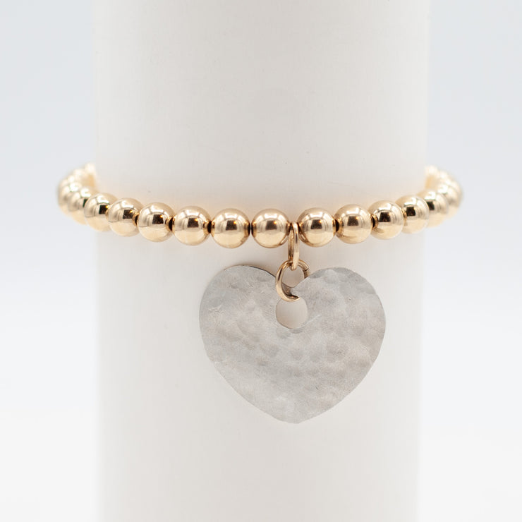 6mm 14K Goldfill & Hammered Heart Bracelet