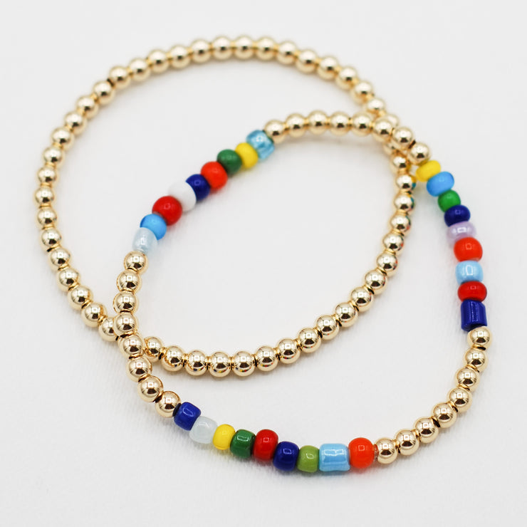 Goldfill & Multicolor Seed Bead Bracelet Set