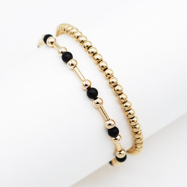 Goldfill Tube & Beaded Lux Bracelet Set