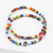 Multicolor Shimmer Bead & Flower Bracelet Set