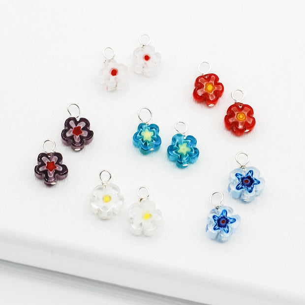 Colorful Millefiori Flower Hoop Drops