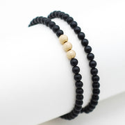 Black Onyx & Sparkle Bead Bracelet Set