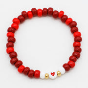 Red Candy Seed Bead Heart Bracelet