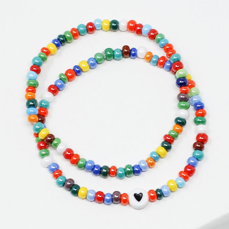 Multicolor Shimmer Seed Bead Heart Bracelet Set