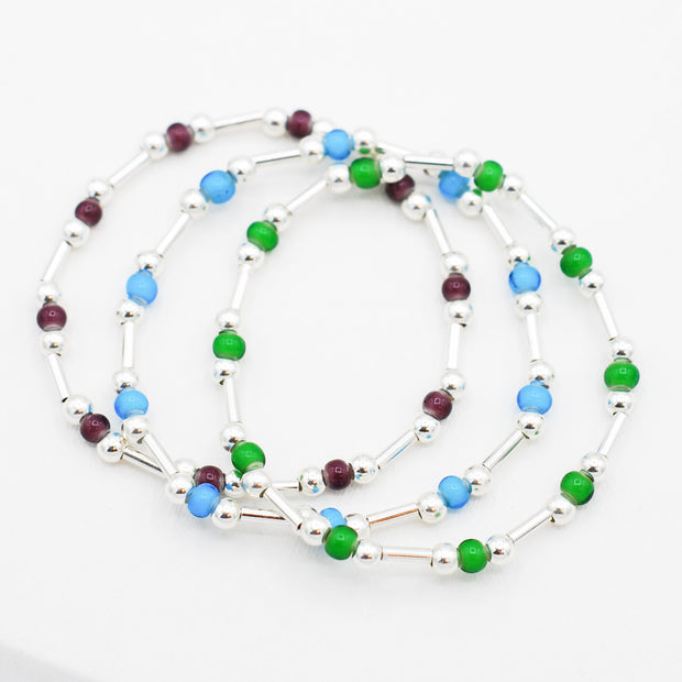 Color Seed Bead & Beaded Lux Tube Bracelet