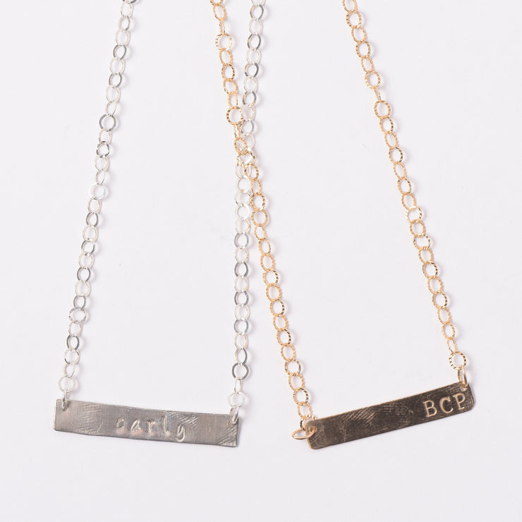 Monogram Goldfill Bar Necklace