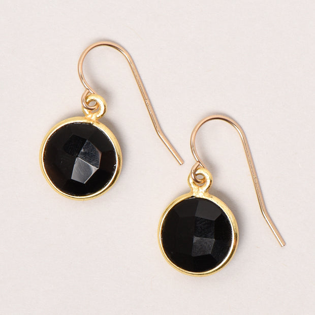 Black Onyx Bezel Set Earrings