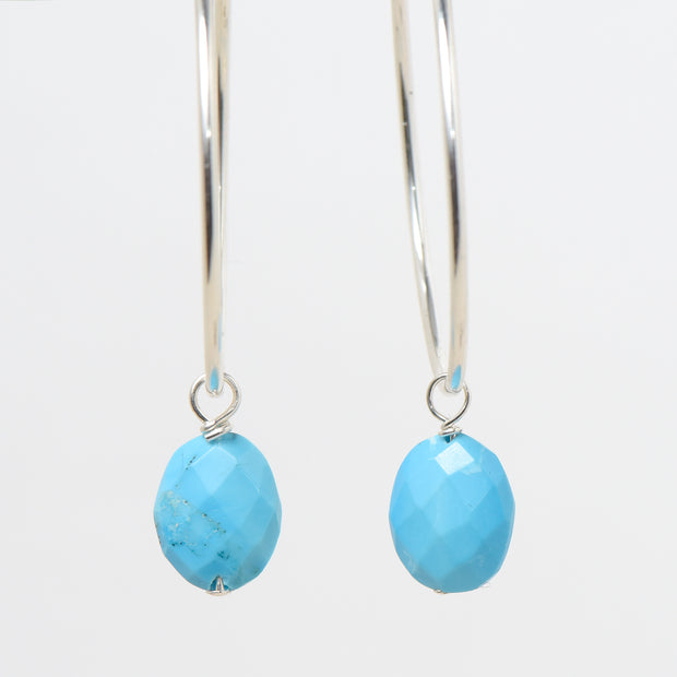 Light Blue Turquoise Hoop Drops
