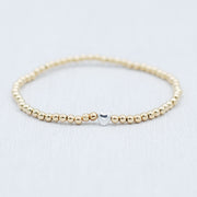 3mm 14k Goldfill & Sterling Silver Heart Bracelet