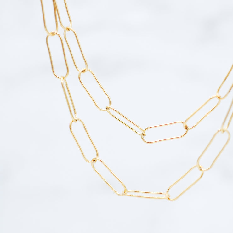 Goldfill Extra Large Paper Clip Long Layering Chain