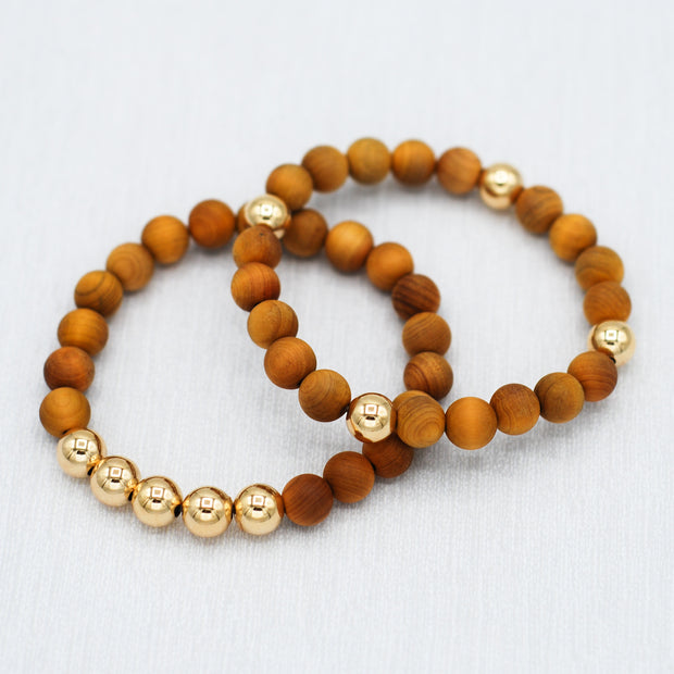 Natural Wood Bracelet Set