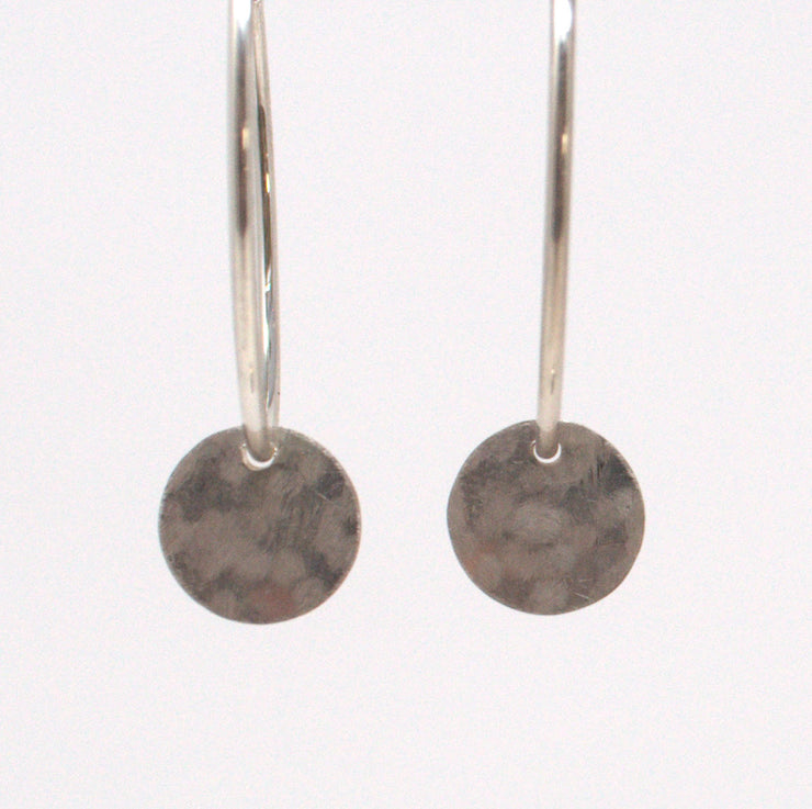 Sterling Silver Hammered Hoop Drops