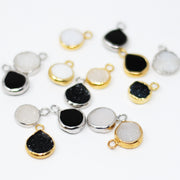 Black Druzy Hoop Drops