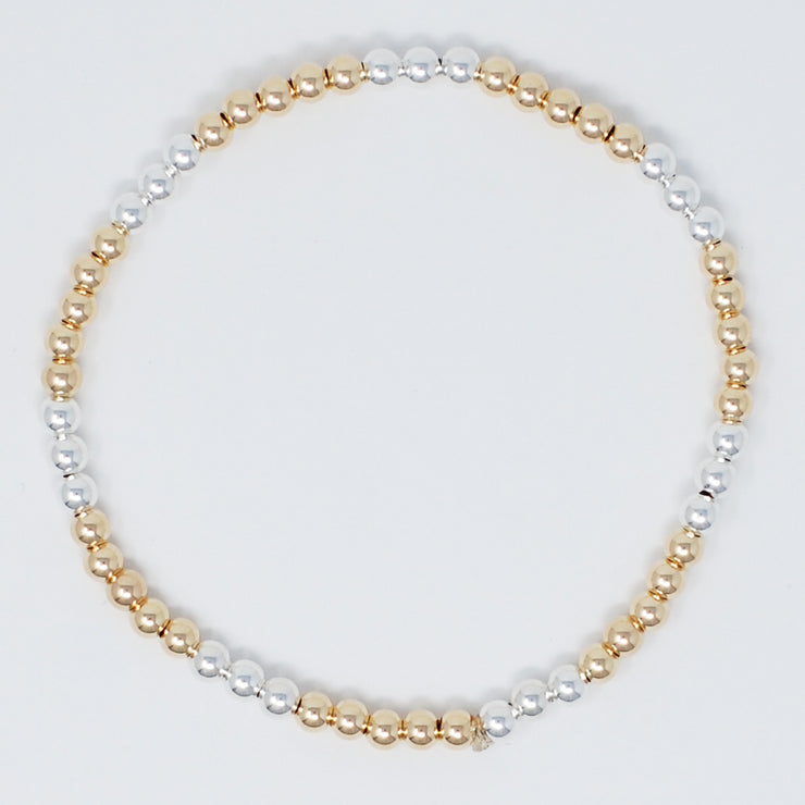 4mm Sterling Silver & 14k Goldfill Bracelet