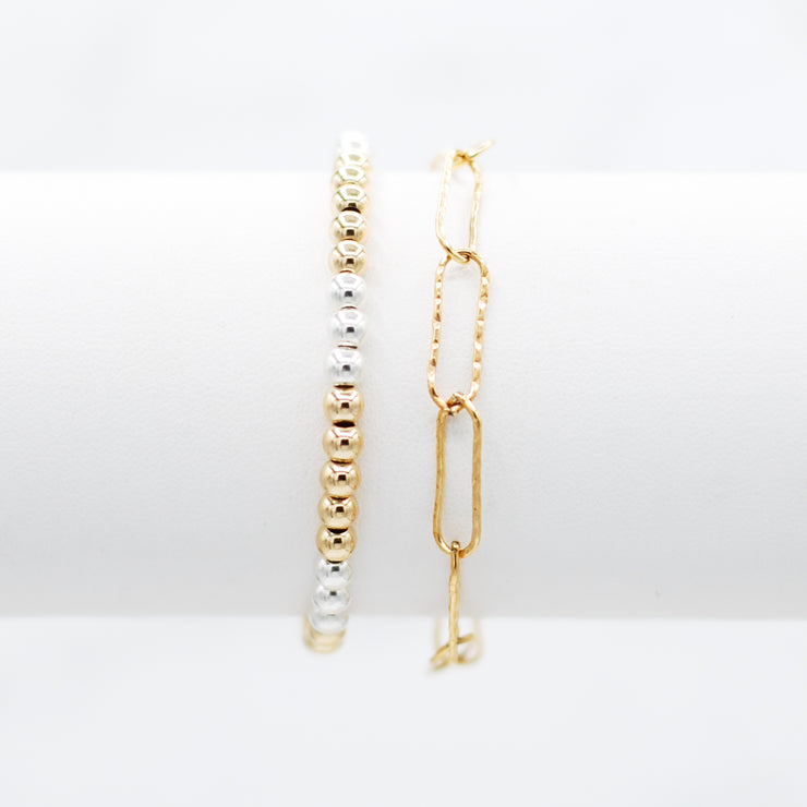 Goldfill Paper Clip & Mixed Metal Bracelet Set