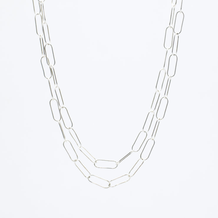 Sterling Silver Extra Large Paper Clip Long Layering Chain
