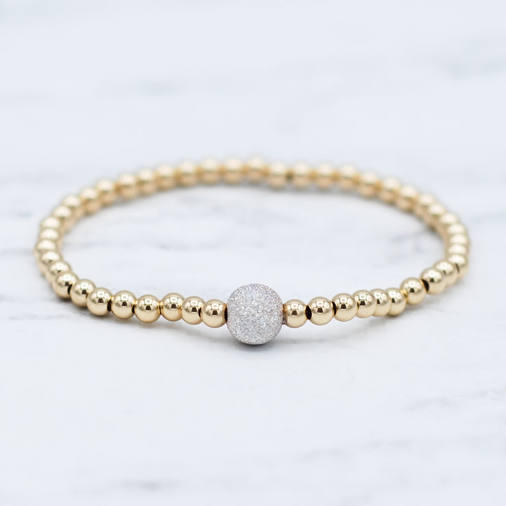 "4mm 14k Goldfill & ""Sparkle Ball"" Bracelet"