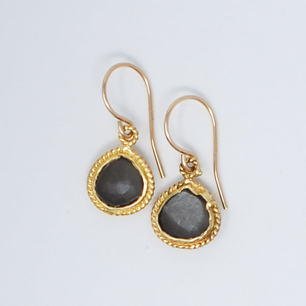 Gray Moonstone & Goldfill Earrings
