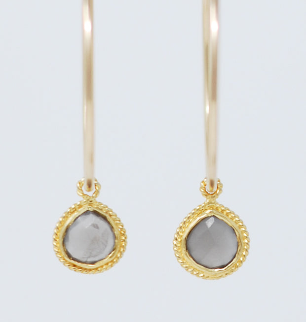 Gray Moonstone Hoop Drops