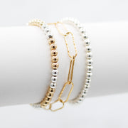 Goldfill Paper Clip & Mix Metal Beaded Bracelet Set