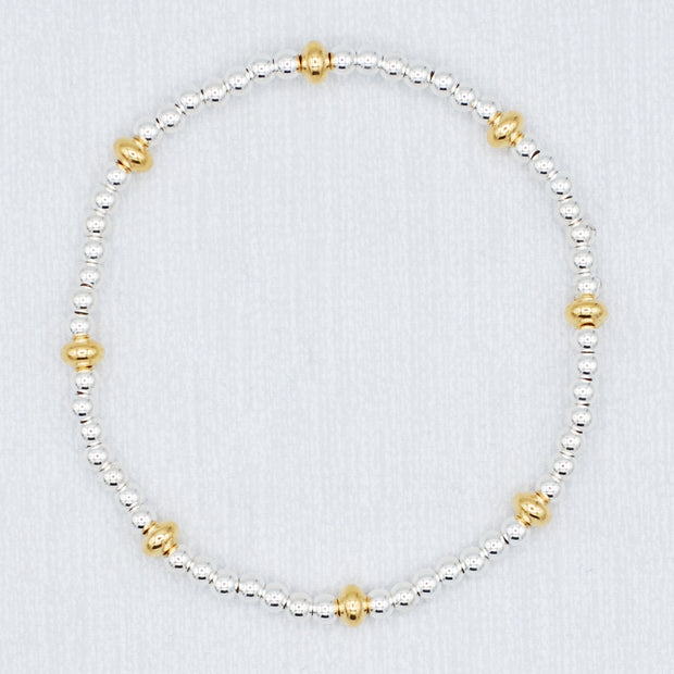 Sterling Silver Beaded & Goldfill Saucer Bracelet