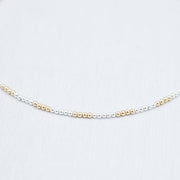 3mm Sterling Silver & 14k Goldfill Beaded Necklace