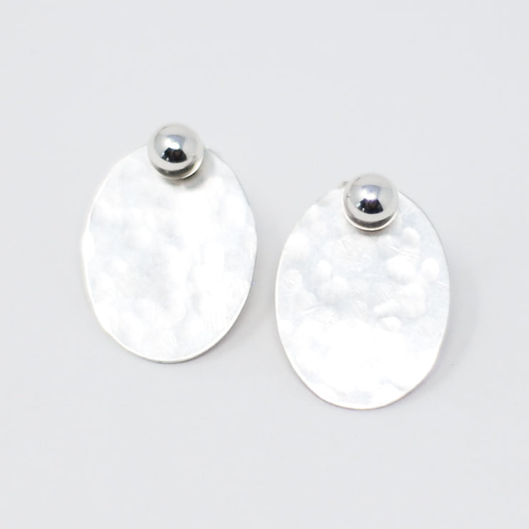 Post Earring & Sterling Silver Oval Hammered Drops