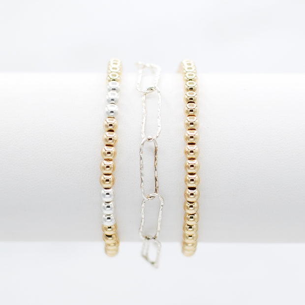 Sterling Silver Paper Clip & Mixed Metal Beaded Bracelet Set