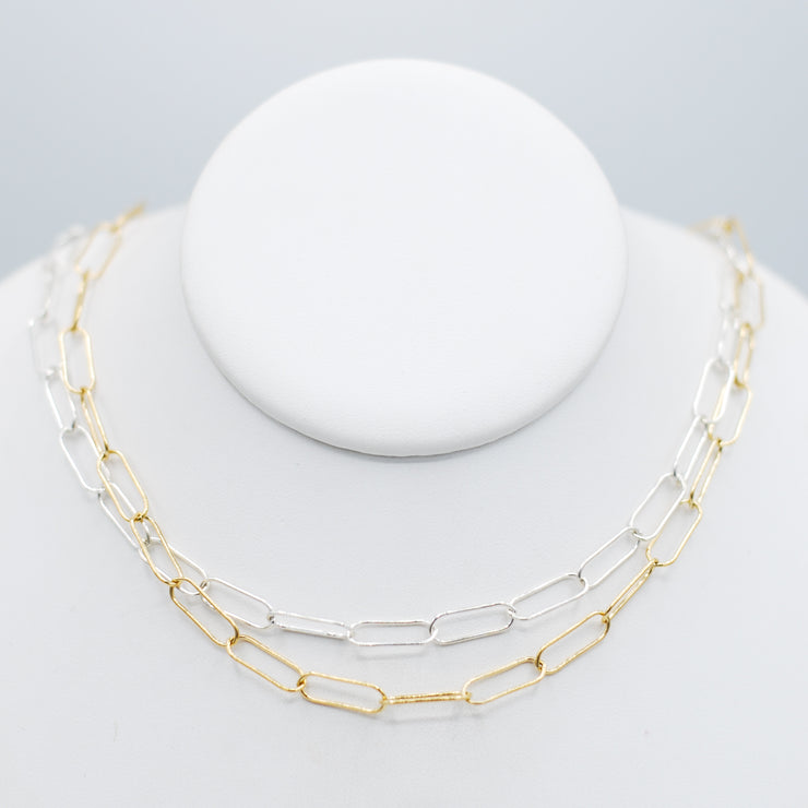 Goldfill & Sterling Silver XLarge Paper Clip Chain Layering Set