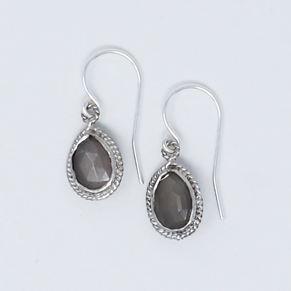 Gray Moonstone & Sterling Silver Earrings