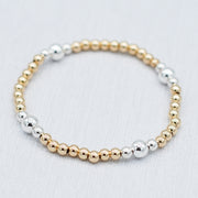 4mm 14k Goldfill & Sterling Silver Stretch Bracelet