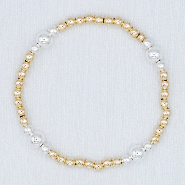 Goldfill & Sterling Silver Stretch Bracelet