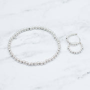 Sterling Silver Beaded Bracelet & Hoop Set