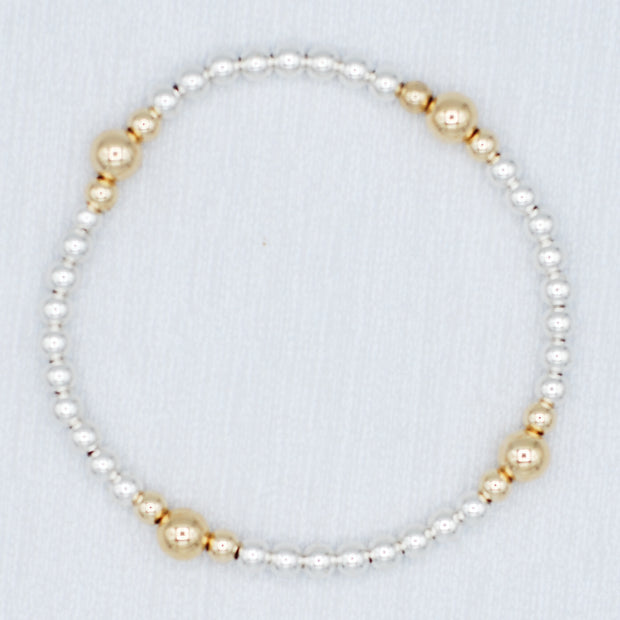 Sterling Silver & Goldfill Stretch Bracelet