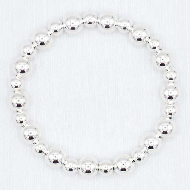 Sterling Silver Oval Chain & Mixed Beaded Bracelet Set
