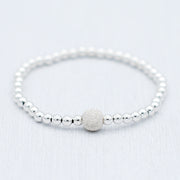 "4mm Sterling Silver & ""Sparkle Ball"" Bracelet"