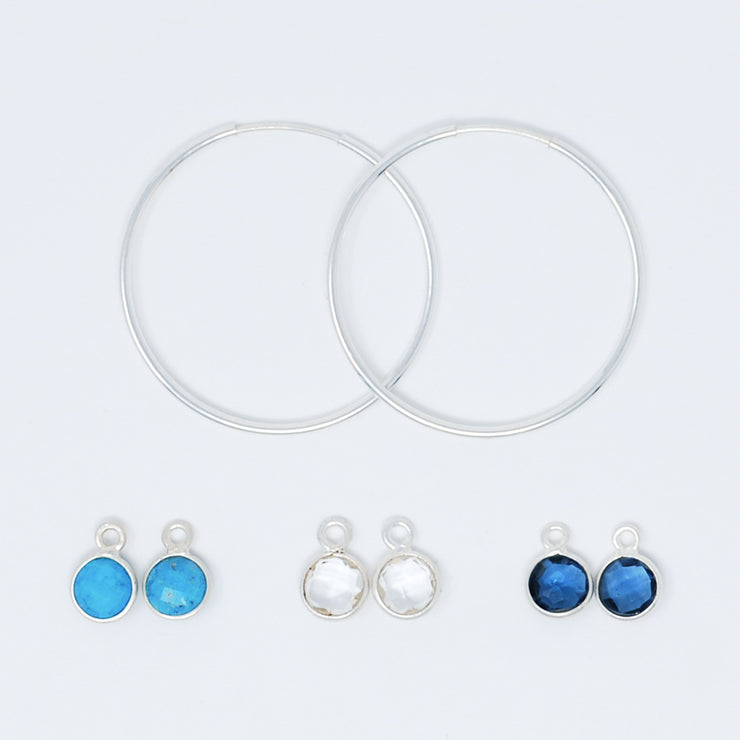 Hoop Earring & Bezel Drop Set