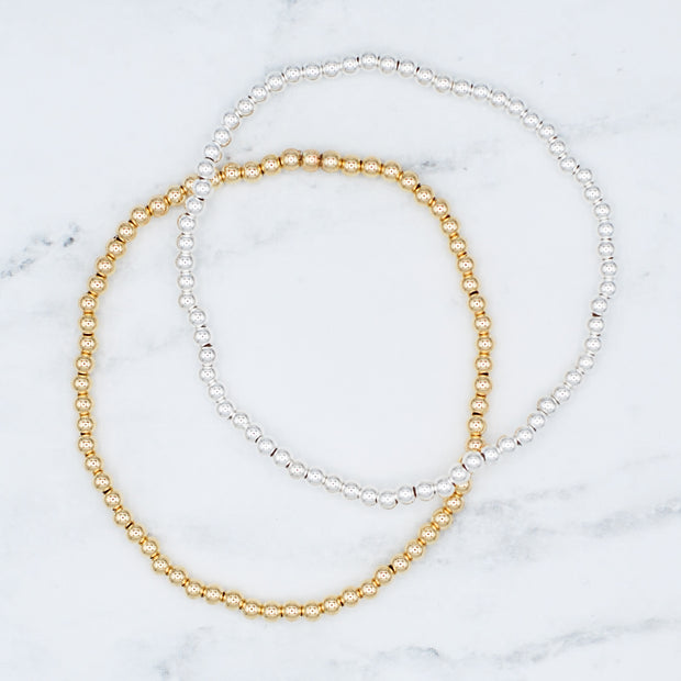 Sterling Silver & Goldfill Stretch Bracelet Set