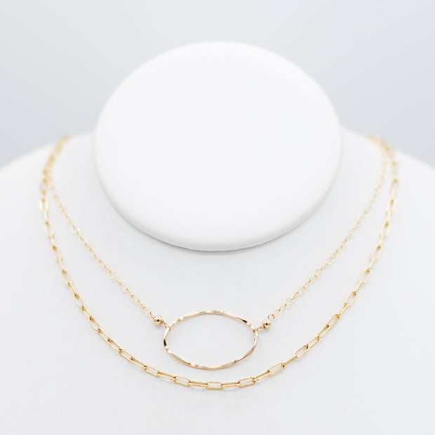 Goldfill Small Paper Clip Chain & Oval Necklace Layering Set