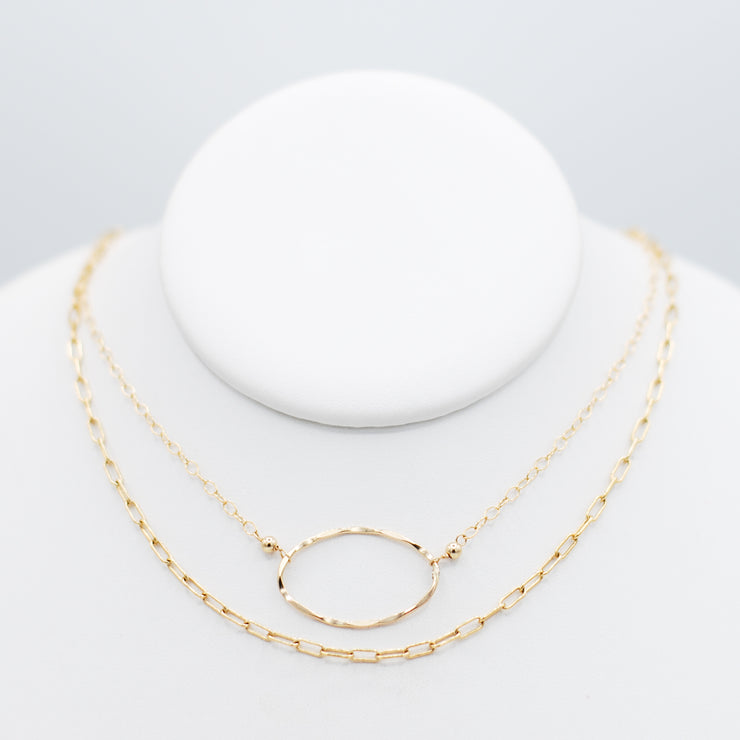 Sterling Silver Small Paper Clip Chain & Oval Necklace Layering Set