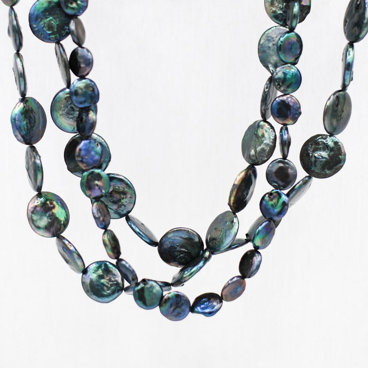 Freshwater Navy Peacock Pearl Necklace