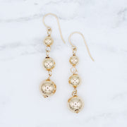Goldfill Ball Elongated Earrings