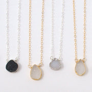 White Druzy & Goldfill Necklace